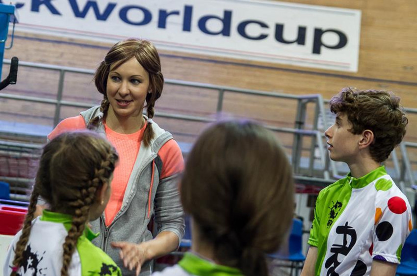 Joanna Rowsell inspires young riders on the track